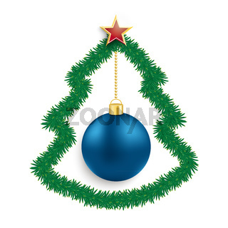 Fir Twigs Christmas Tree Blue Bauble