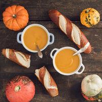 Pumpkin soup and pretzel sticks