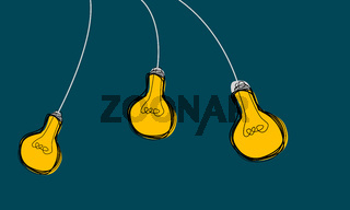 Hanging light bulbs icons with concept of idea