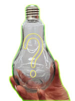 Lightbulb with yellow question marks