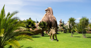 Colombia Jaime Duque park palm trees and dinosaurs