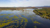 Tupper Lake Fall Color Aerial Perspective Adirondacks New York