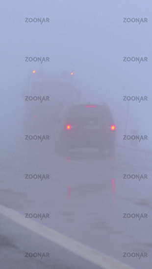 car ride in fog, mist, car, road, cars, rear light