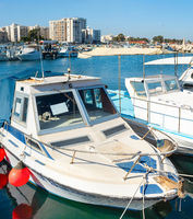 Motorboats  marina  cityscape Larnaca  Cyprus