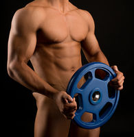 Handsome muscular athlete isolated shot