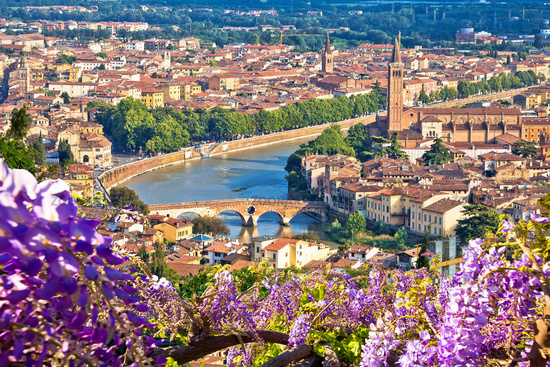 Ciy of Verona historic architecture and Adige river view