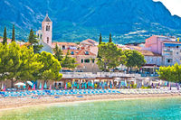 Town of Baska Voda beach and waterfront view