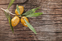 Olive branch on wooden table