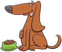cartoon dog animal character with his food