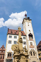 Grafeneckart and four-tube fountain in Wuerzburg, Lower Franconia in Bavaria