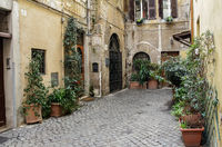 Charming old street in Rome, Italy