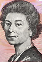 Queen Elizabeth II  (born 1926) on 5 Dollars 1992 banknote from Australia. Queen of the United Kingdom.
