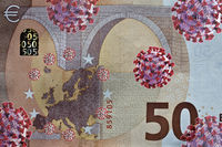 How does the corona crisis affect the economy, 50 euro note with corona viruses, photo Assembly