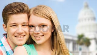 smiling couple over washington white house