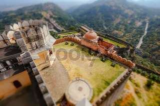 Tilt shift lens - Kumbhalgarh is a Mewar fortress on the westerly range of Aravalli Hills, in the Rajsamand district near Udaipur of Rajasthan state in western India.