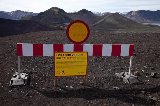 Road closure, Ljótipollur, Fjallabak National Park, Iceland, Europe