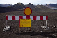 Road closure, Ljótipollur, Fjallabak National Park, Iceland, Europe