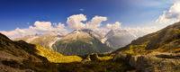 massive Grandes Jorasses and Mont Blanc in summer