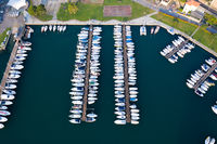 Amazing view of boats moored at dock in Lovere port