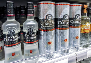 Russian Standard vodka ready for sale on the shelf in superstore