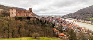 View on Heidelberg Castle, ger. Schloss Heidelberg, and Skyline of Downtown Heidelberg, Baden-Wuerttemberg, Germany. Europe