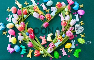 Tulpen und Osterdekoration