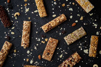 Mixed gluten free granola cereal energy bars. With dried fruits and nuts