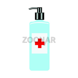 hand cleaner. hand-drawn hand sanitizer isolated on a white background. flat vector illustration. Cleaner, sanitizer. Gel for cleaning hands.