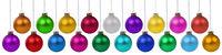 Weihnachten Weihnachtskugeln Banner Advent Farben Kugeln Dekoration hängen Freisteller isoliert freigestellt