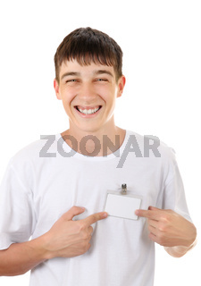 Teenager with Empty Badge