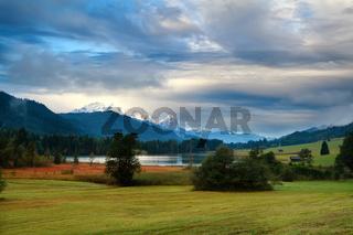 clouded morning on Geroldsee lake