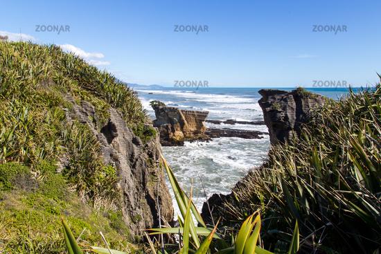 Punakaiki pancake rocks in New Zealand
