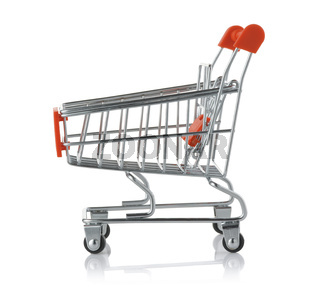 Side view of empty toy shopping trolley cart