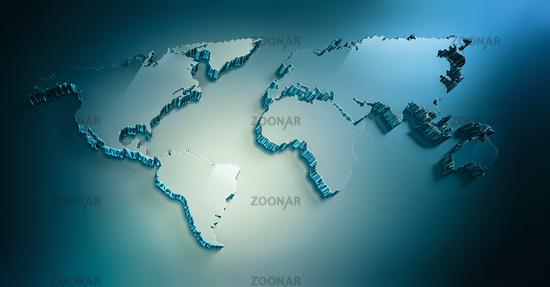 blue 3d world map