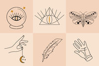 Magic Hand drawn, doodle, sketch line style set. Witchcraft symbols.Ethnic esoteric collection with hands, moon. Vector illustration