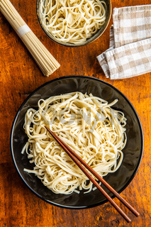Cooked udon noodles. Traditional Japanese noodles.