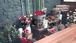 Beautiful flowers in modern shop