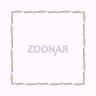square frame made of willow twigs.Easter wreath made of willow stalks.Vector flat illustration isolated on a white background. Design for invitations, postcards, printing.