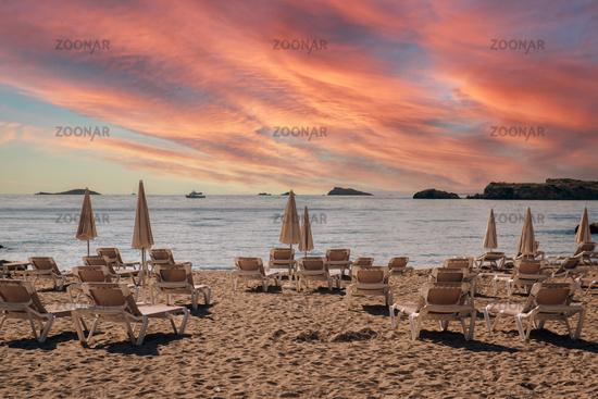 Ibiza coast during sunset. Spain