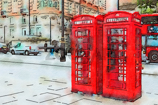 Red telephone box and double decker bus, London UK