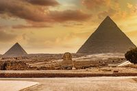 Great Sphinx of Giza and pyramid, Cairo Egypt