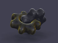 Two 3D gears made of digital dots on gray background.