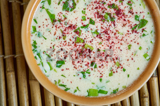 Turkish  Soup with barley noodles.