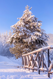 Ski resort Bansko, Bulgaria, winter bridge view