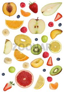Collage von Früchte wie Orange Frucht, Apfel, Banane und Erdbeere