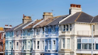 Colorful houses along the seaside in Eastbourne, Sussex, United