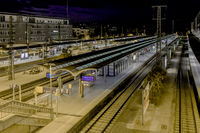Freiburg train station at night, southern Germany.