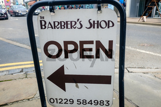 Barbers shop open sign in the market town of Ulverston