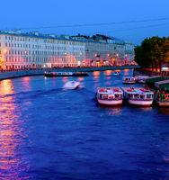 Night canal, boats, Saint Petersburg