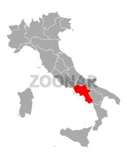 Karte von Kampanien in Italien - Map of Campania in Italy